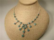 Gorgeous Sterling Silver Malachite Necklace Taxco