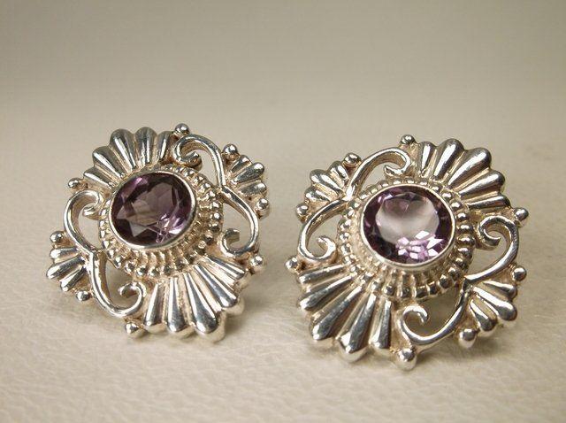 Stunning Nepal Sterling Silver Amethyst Earrings Heavy