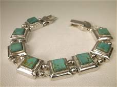 Gorgeous Sup Heavy Sterling Silver Turquoise Bracelet
