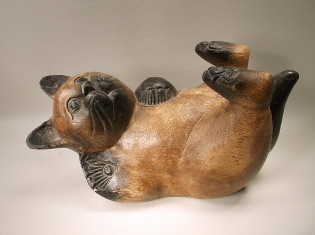 Large Antique Hand Carved Oriental Wood Cat