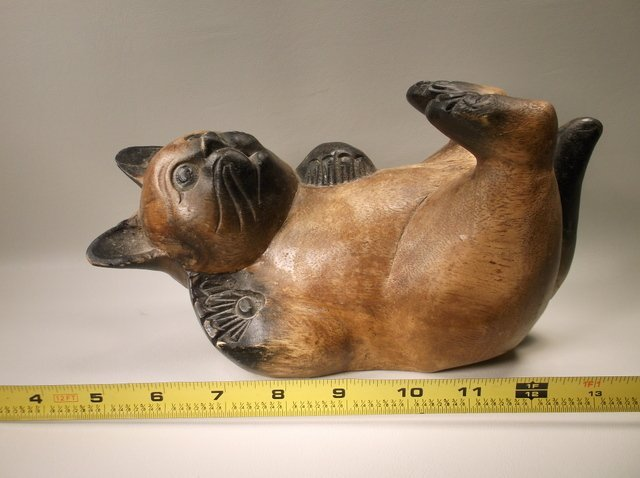 Large Antique Hand Carved Oriental Wood Cat - 2