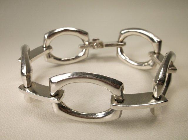 Massive Taxco Sterling Silver Chain Bracelet TS-30