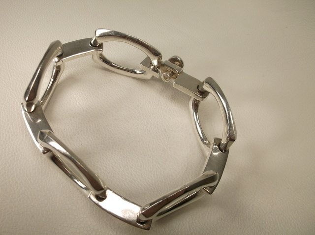 Massive Taxco Sterling Silver Chain Bracelet TS-30 - 2