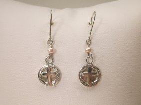 Beautiful Sterling Silver Cross Earrings