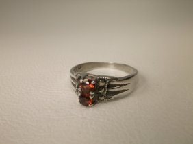 Beautiful Sterling Silver Red Stone Ring 6