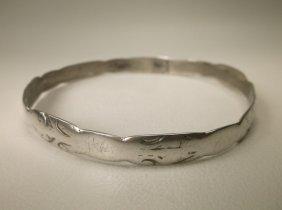 Old Heavy Sterling Silver Bangle Bracelet