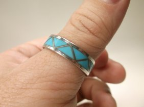 Beautiful Navajo Sterling Silver Turquoise Ring 13