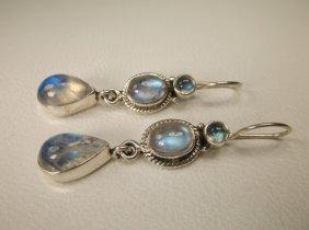 Gorgeous Sterling Silver Sea Opal Earrings Nb