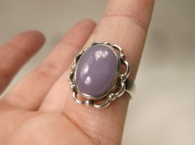 Gorgeous Sterling Silver Purple Jade Ring 8