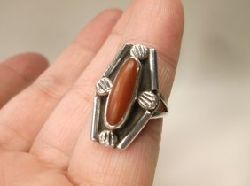 Beautiful Old Pawn Sterling Silver Red Coral Ring 6