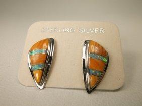 Gorgeous Sterling Silver Opal Orange Spiny Earrings
