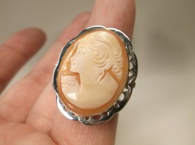 Gorg Sterling Italian Carved Shell Cameo Ring 6 Signed