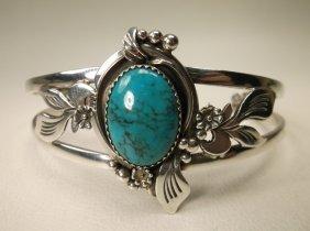 Gorg Navajo Sterling Silver Turquoise Cuff Bracelet Lt