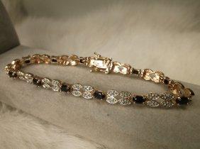 Gorg Gold Over Sterling Gen Diamond Sapphire Pendant