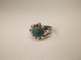 Infant Navajo Sterling Silver Turquoise Ring 1
