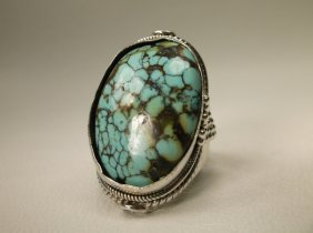 Gorgeous Huge Sterling Turquoise Ring 10.5 Navajo?