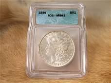 MS63 1886 US Silver Morgan Dollar Graded