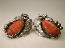 Gorg Large Navajo Sterling Silver Red Coral Earrings JM