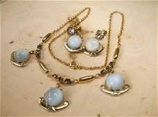 Antique Art Deco 12kt GF Sea Opal Necklace Earrings