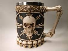 Gorgeous Large Skull Skeleton Beer Stein