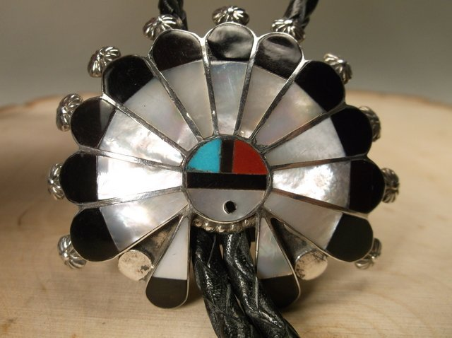 Stunning Huge Navajo Sterling Silver Inlay Bolo Tie