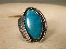 Gorgeous Navajo Sterling Silver Turquoise Ring 7