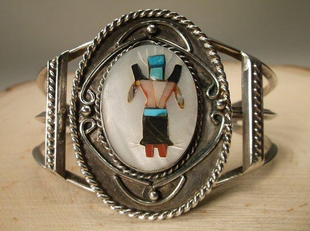 Gorgeous Huge Zuni Sterling Inlay Cuff Bracelet