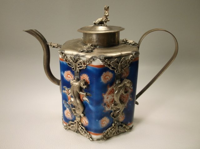 Impressive 800 Silver Antique Chinese Panther Teapot