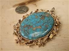 Gorgeous Vintage Large Turquoise Pendant
