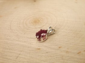 Gorgeous Sterling Genuine .70ct Ruby Pendant