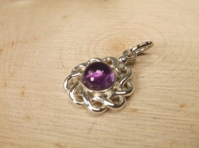 Gorgeous Sterling Silver Purple Amber Pendant
