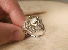 Stunn Sterling Genuine Diamond 3ct Citrine Ring 9
