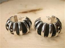Gorgeous Huge Taxco Sterling Silver Earrings Heavy