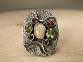 Gorg Sterling Genuine Amber Peridot Opal Ring 7.5