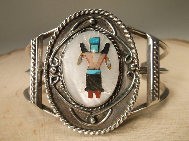 Gorg Huge Zuni Sterling Silver Kachina Cuff Bracelet
