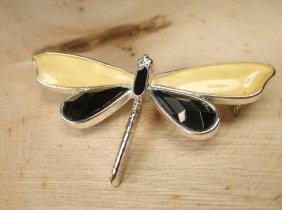 Beautiful Enameled Dragonfly Brooch
