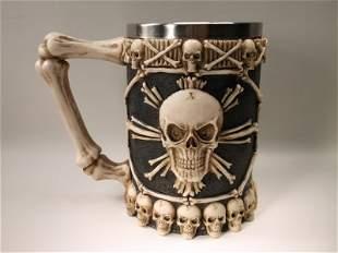 Beautiful Huge Skull & Bones Beer Stein