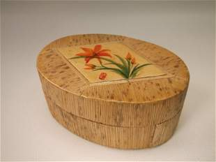 Gorgeous Antique Hand Painted Wood Box