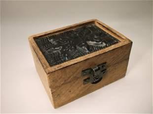Beautiful Tin Top Small Wood Box