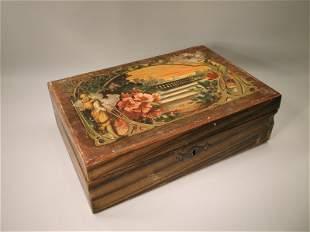 Victorian Antique Art Nouveau Wood Box
