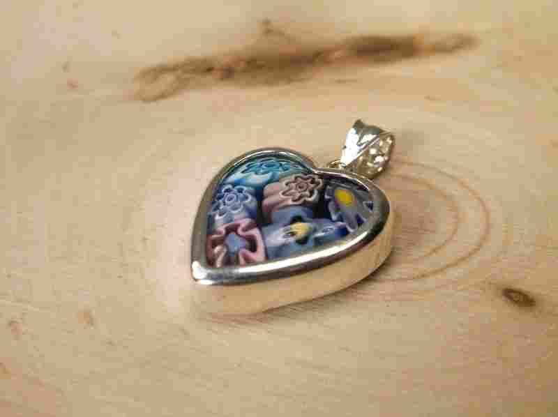 Gorgeous Sterling Silver Millefiori Pendant
