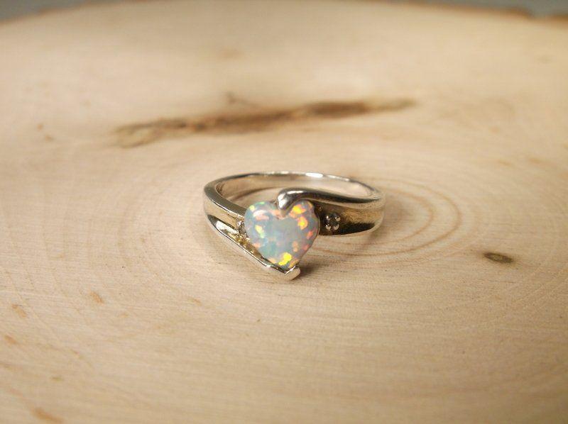 Gorgeous Sterling Gen Diamond Opal Ring 7