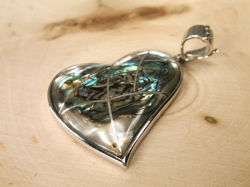 Gorgeous Sterling Silver Abalone Pendant Large