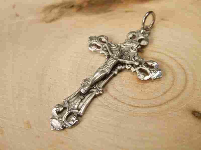 Gorgeous Antique Sterling Silver Crucifix Pendant