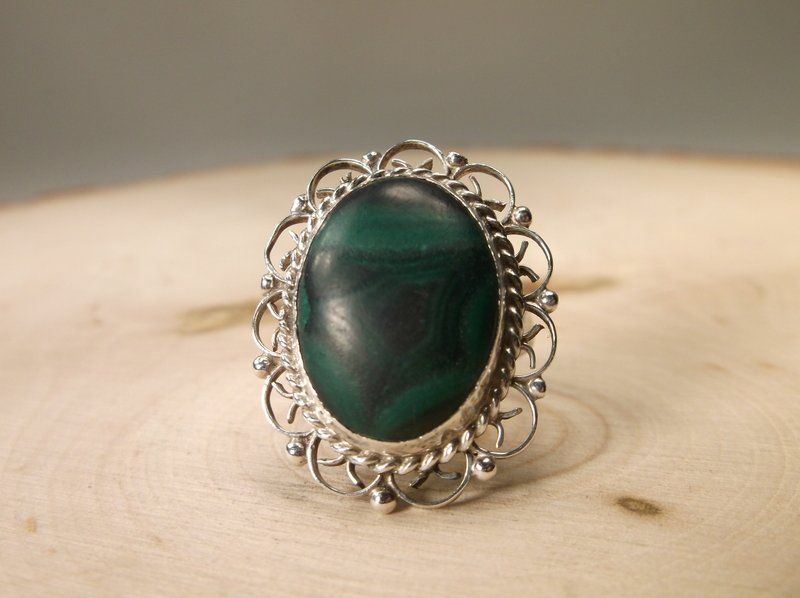 Gorgeous 1930s Taxco Sterling Malachite Ring 7 FHG