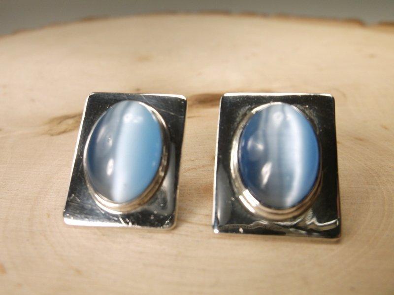 Gorgeous Sterling Silver Taxco Gem Earrings