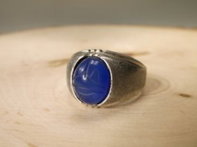 Gorgeous Antique C&c Sterling Blue Scarab Ring 11.5