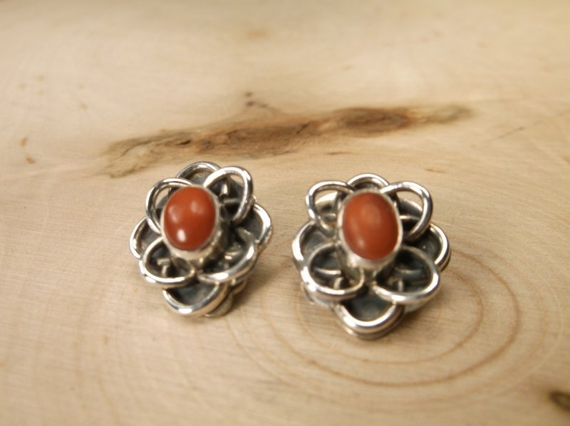 Gorgeous Sterling Silver Navajo Red Coral Earrings SG