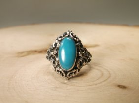 Gorgeous Sterling Silver Navajo Turquoise Ring 7
