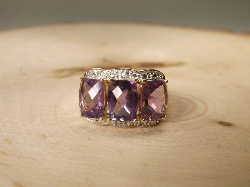 Gorgeous Sterling Gen Diamond Amethyst Ring 9